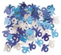 Blue Glitz Table Confetti - Age 16